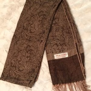 Pashmina - light and dark brown paisley patten